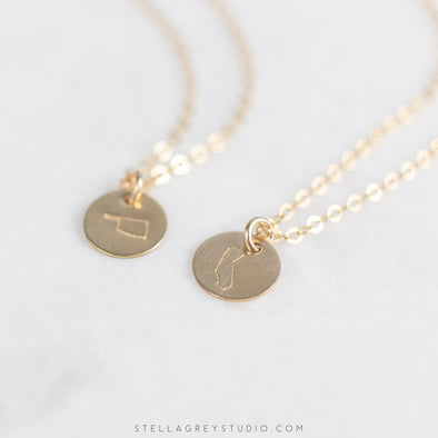 gold disc state necklace
