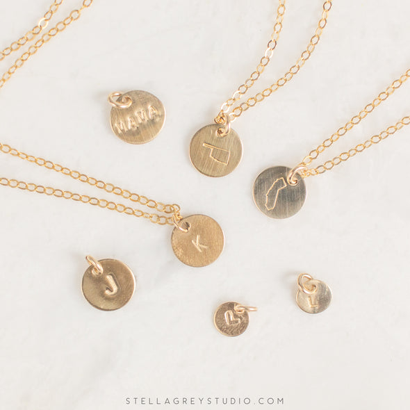personalized gold disc necklaces