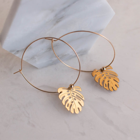Small Botanical Leaf Earrings