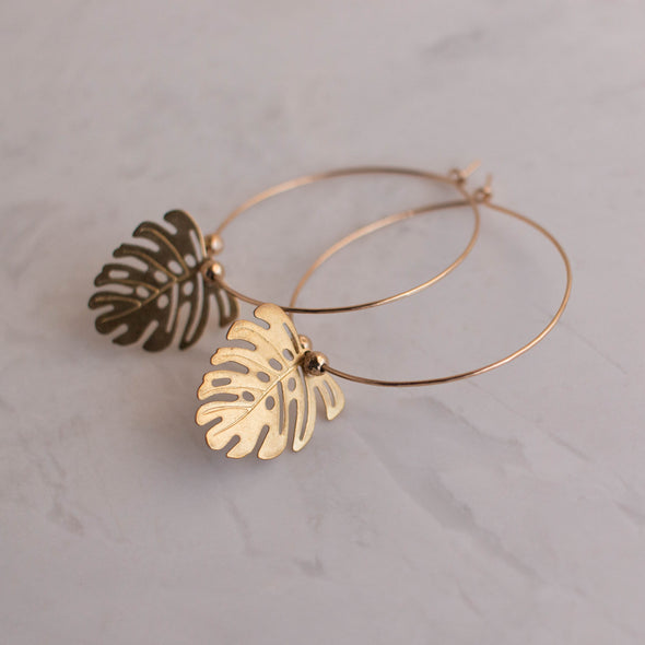 gold monstera leaf earrings