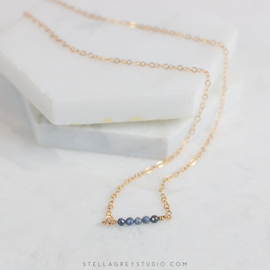 tiny blue sapphire bar necklace