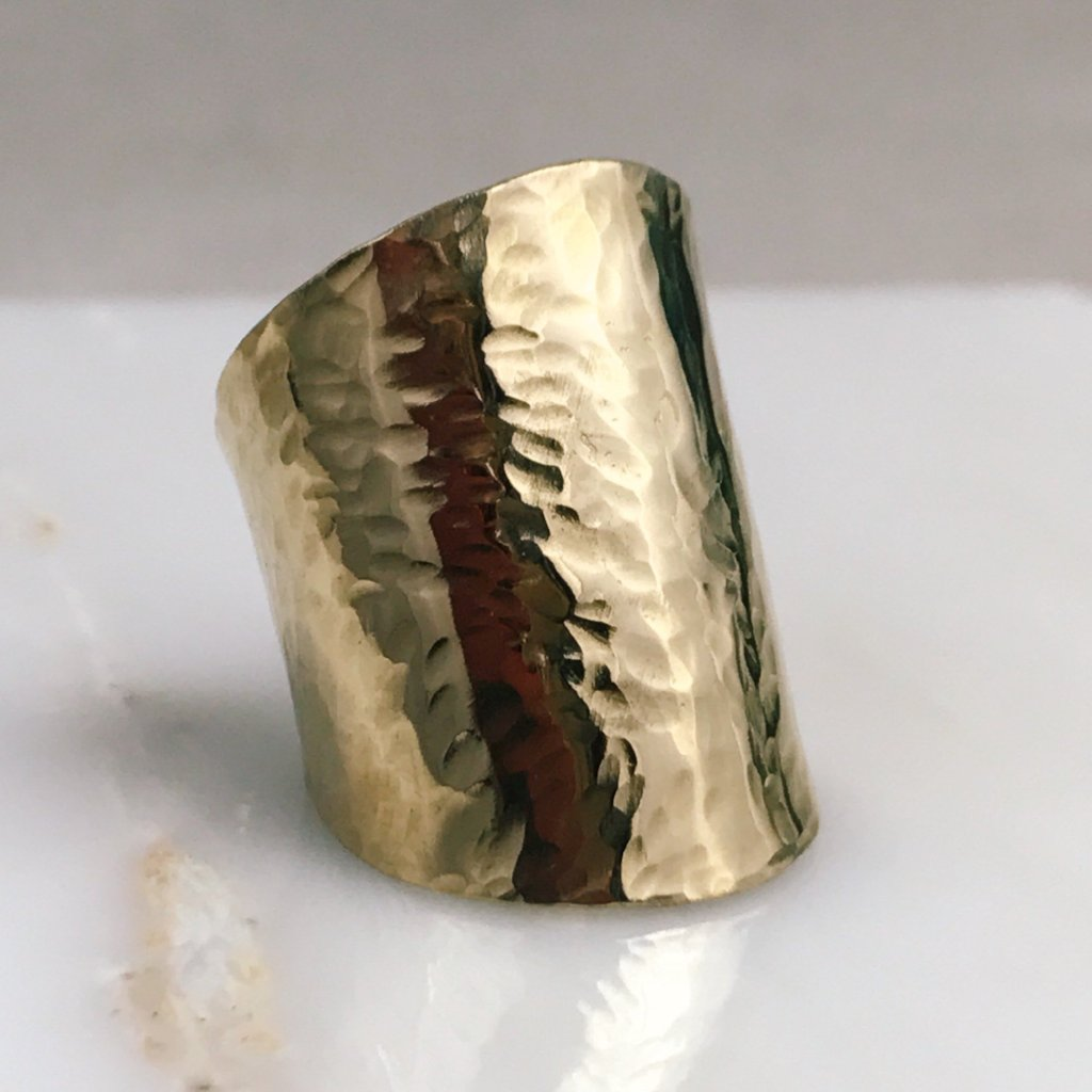 hammered brass cocktail ring, gold statement ring, gold cuff, hammered gold cuff, textured gold cuff, brass jewelry, brass bracelets, statement jewelry, statement bracelets, stacking bracelets, stackable bracelets, handmade jewelry, metal smithing, hand forged metal, artist jewelry, artisan jewelry, artisan made bracelet