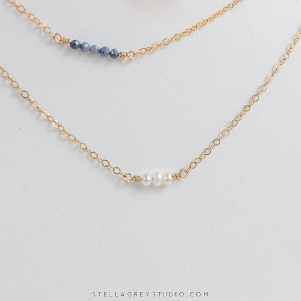 sapphire and pearl dainty necklaces