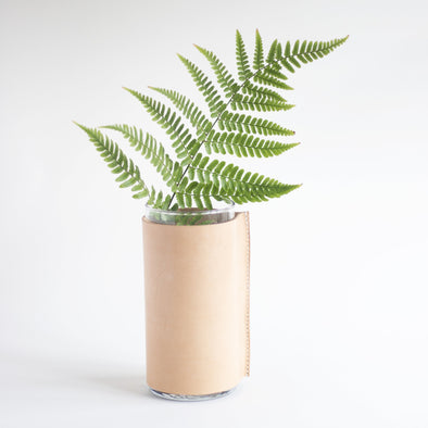 hand stitched leather vase