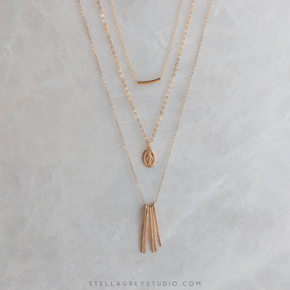 Necklace Trio Mary, Tiny Tube, and Gold Fringe Necklace