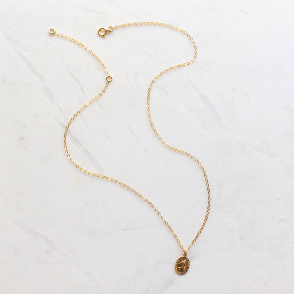 Small St. Christopher Gold Pendant Necklace