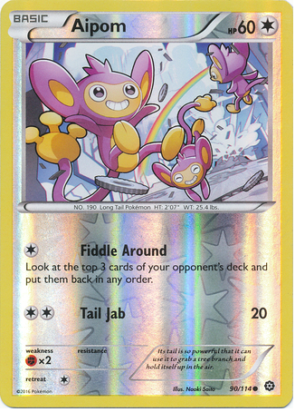 Aipom 90/114 XY Steam Siege, Reverse Holo - The Pokemart - 1