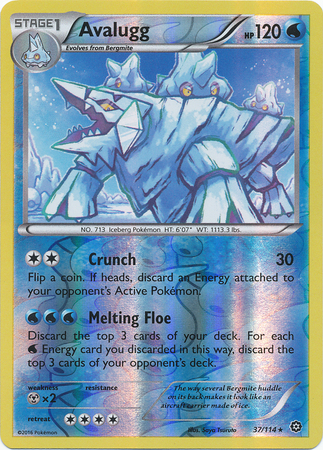 Avalugg 37/114 XY Steam Siege, Reverse Holo - The Pokemart - 1