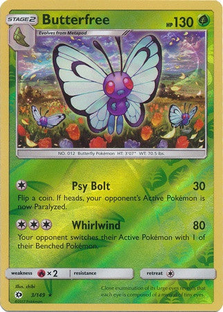 Butterfree 3/149 Sun & Moon (Base Set), Reverse Holo - The Pokemart - 1
