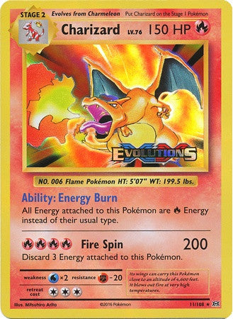 Charizard 11/108 XY Evolutions, Holo Prerelease Promo - The Pokemart - 1