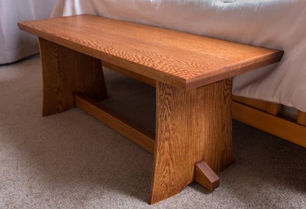 Japanese Inspired White Oak Bench - Natural Inspirations Woodworking
