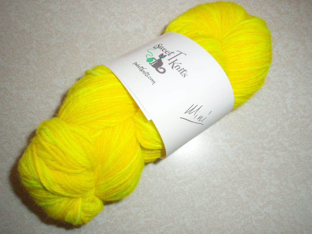 Sweet T Knits sock yarn - Acid Trip Throwback Yellow mini