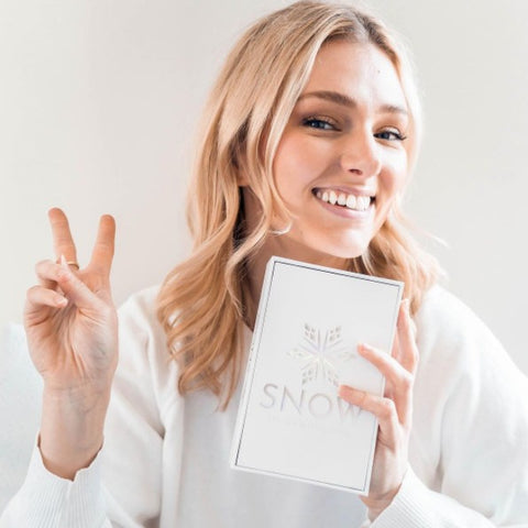 Women smiling while holding a snow teeth whitening box