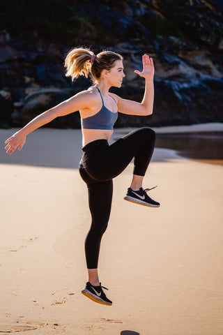 beautiful young lady doing exercise