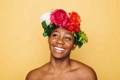 women with head piece made of flowers