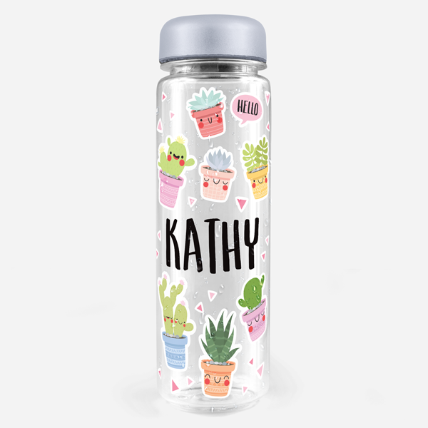 Happy Cacti Water Bottle Labels