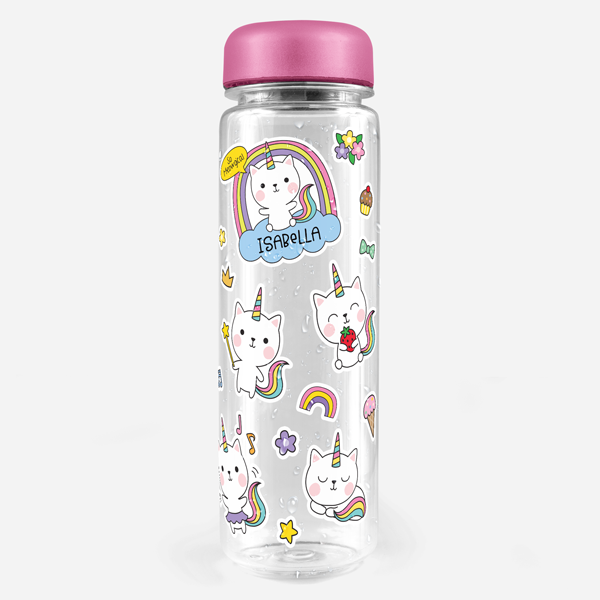 Unicorn Kitty Water Bottle Labels