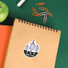Pirate Ship Die Cut Name Label on School Notebook