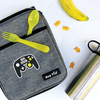Game Controller Die Cut Name Label on Lunch Bag