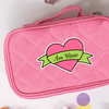 Ribbon Heart Die Cut Name Label on Pouch