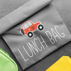 Road Trip Die Cut Name Label on Lunch Bag