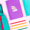 Unicorn Sparkle Die Cut Name Label on School Notebook