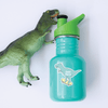 Skater T-Rex Die Cut Name Label on Reusable Water Bottle