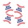 Four Baseball Die Cut Name Labels