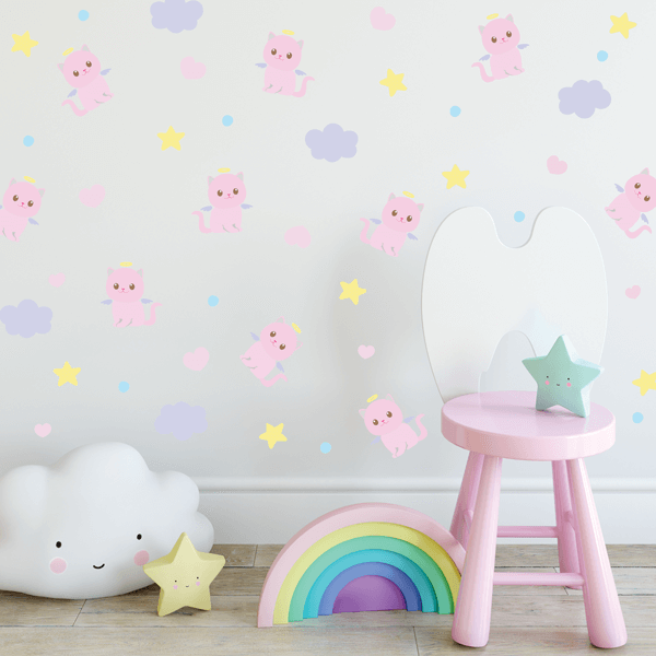 Fabric Angel Kitty, Cloud, Heart & Star Wall Decals