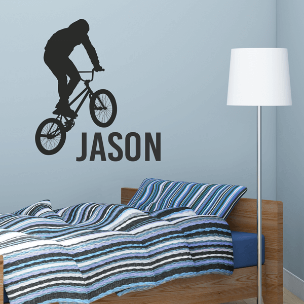 Black Vinyl BMX Rider Wall Decal With Custom Name