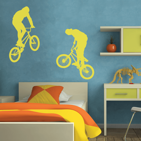 Two Vinyl Wall Decal BMX Riders
