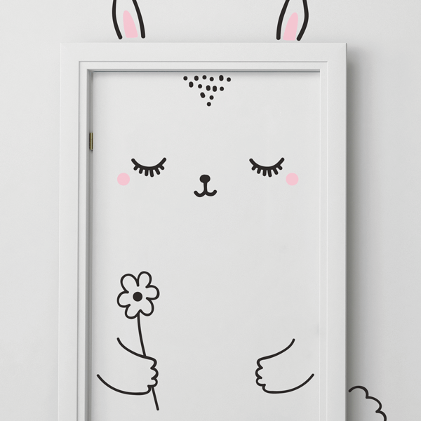 Sweet Bunny With Flower Vinyl Door Decal