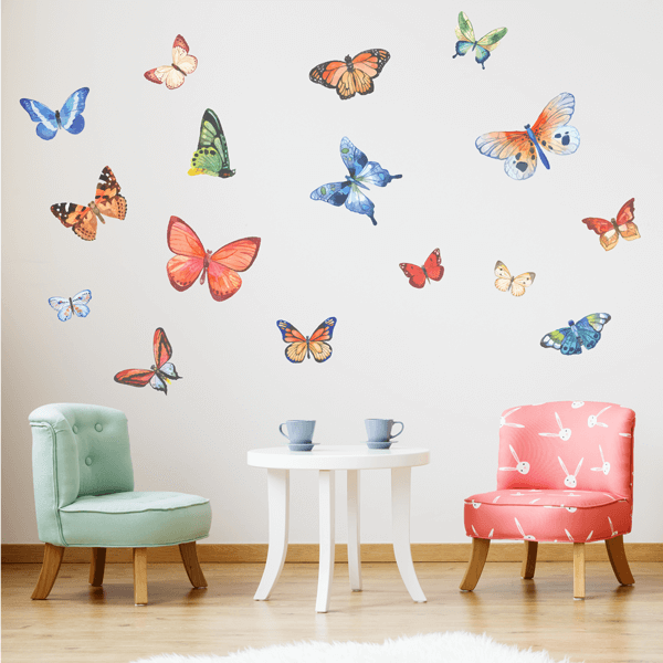 Colorful Fabric Watercolor Butterfly Wall Decals