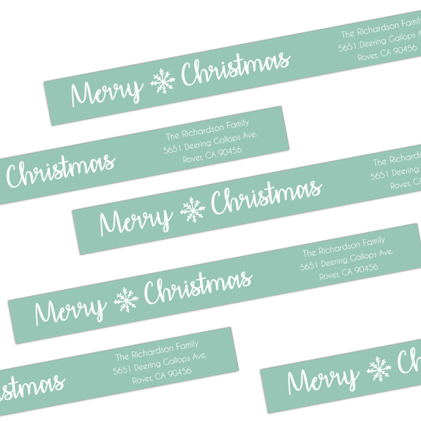 Christmas Snowflake Wrap Around Address Labels
