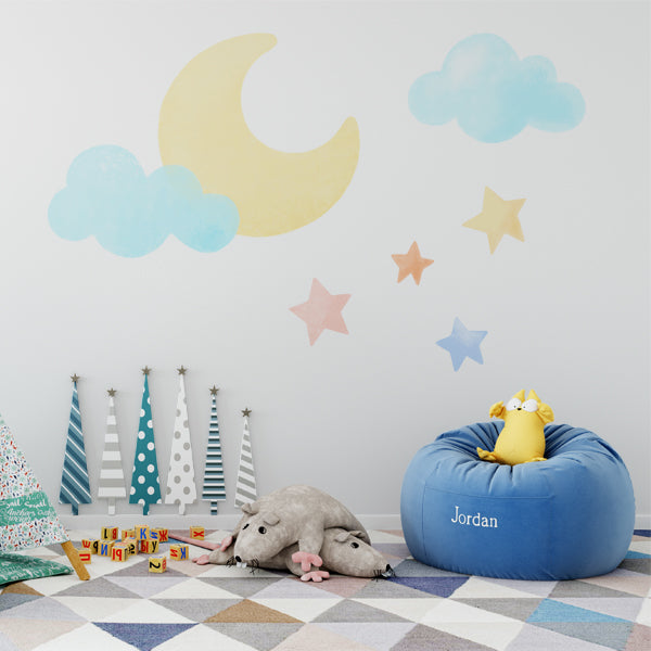 cloud and moon wall decal set – labeldaddy