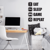 Black Vinyl Eat Sleep Game Repeat Wall Decal Quote