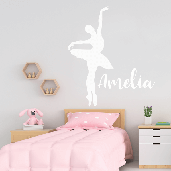 Vinyl En Pointe Pose Ballet Wall Decal with Name