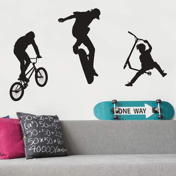 Vinyl BMX Rider, Skateboarder, and Scooter Rider Wall Decals
