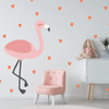 Large Flamingo W/ Hearts Fabric Wall Decal