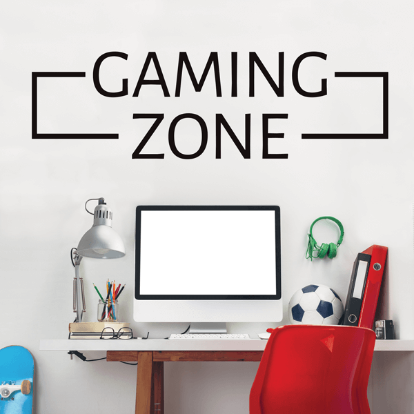 Black Vinyl Gaming Zone Quote Wall Decal