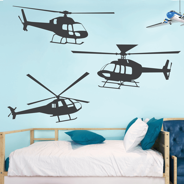 Three Helicopter Vinyl Wall Decals