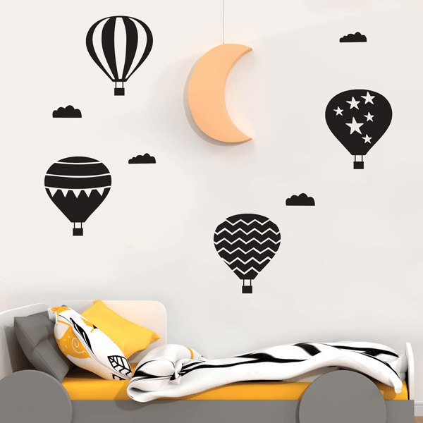 Black Vinyl Hot Air Balloon Wall Decals
