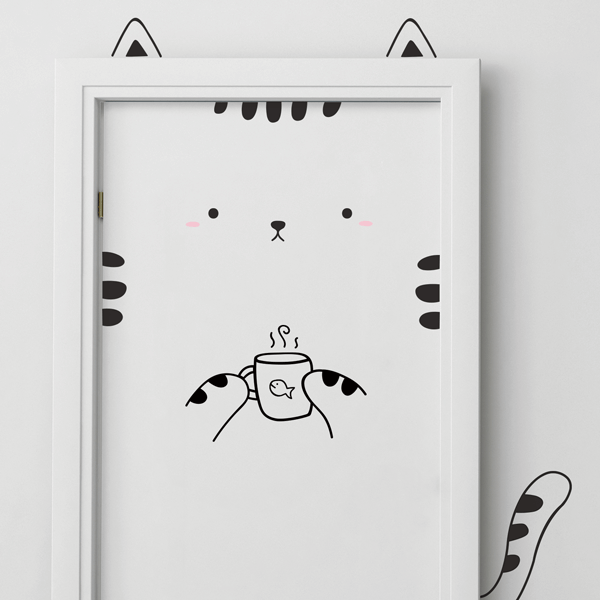 Kitty With Mug Vinyl Door Decal