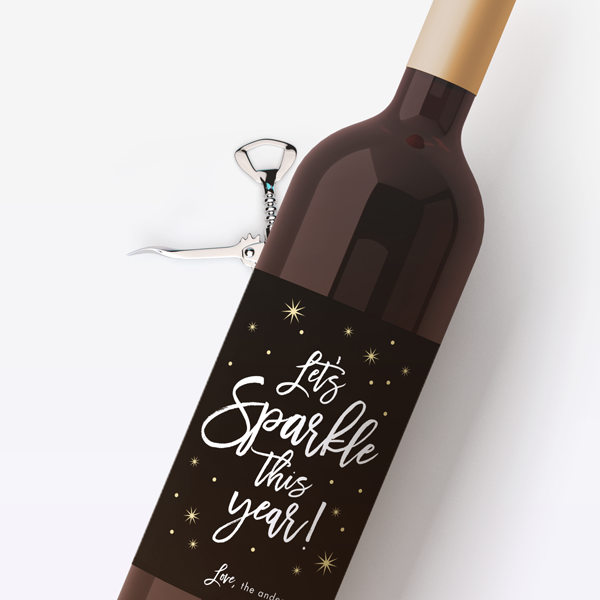 Let's Sparkle Wine Labels