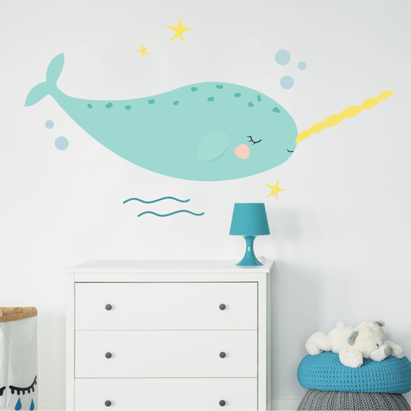 Blue Happy Narwhal Fabric Wall Decal