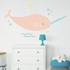 Pink Happy Narwhal Fabric Wall Decal