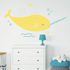 Yellow Happy Narwhal Fabric Wall Decal