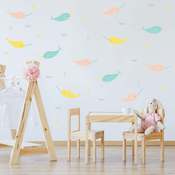 Pastel Narwhal Wall Decals