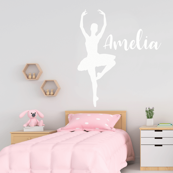 Vinyl Pirouette Pose Ballet Wall Decal with Name
