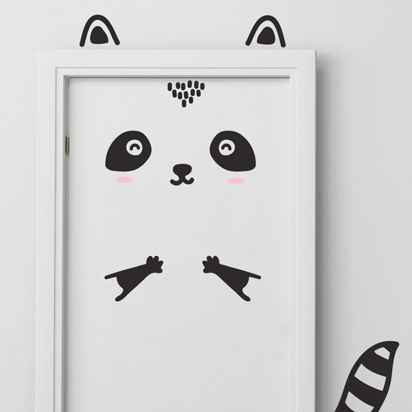 Happy Raccoon Door Decal